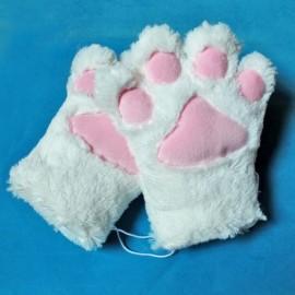 Kocie łapy białe - rękawiczki